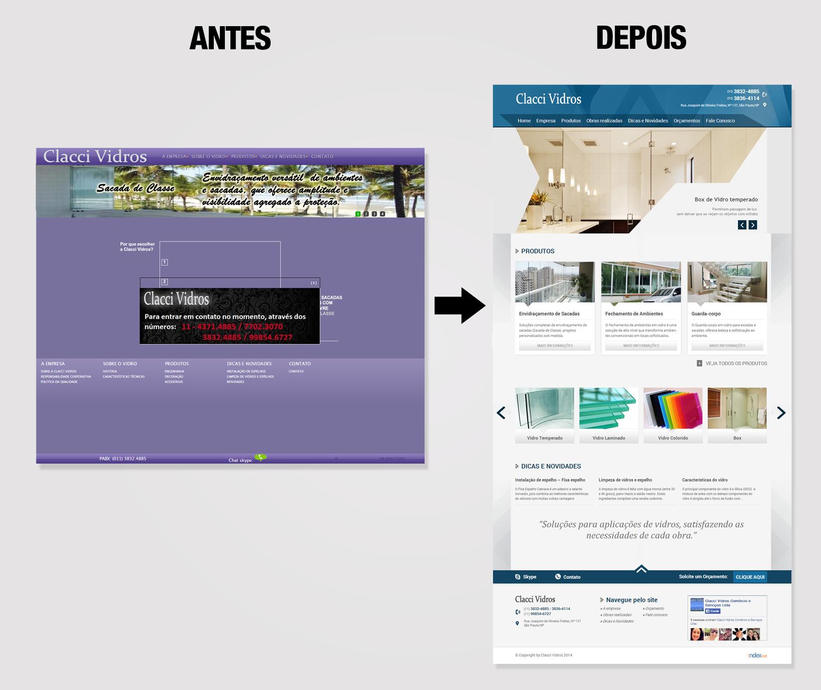 Reformulação de site - antes e depois clacci - Indexnet Publicidade Digital