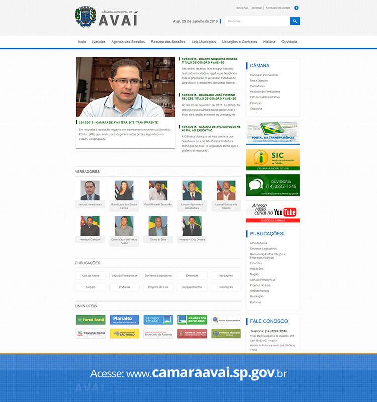 Portfolio Site Câmara de Avaí