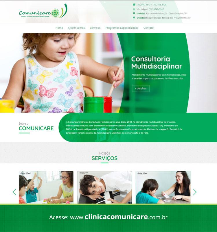 Portfolio Site Clínica Comunicare