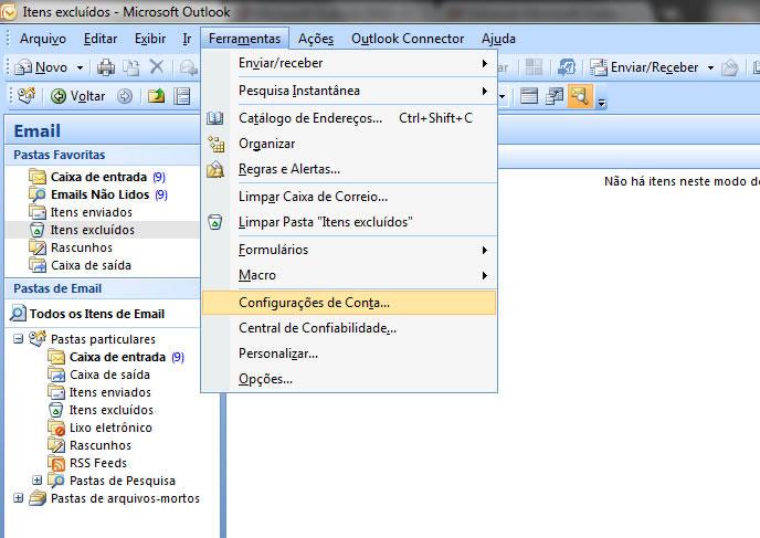 Passo 01 - Configuração de E-mail Outlook 2007
