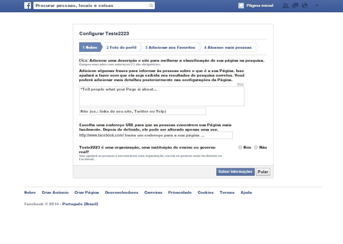 página corporativa no Facebook