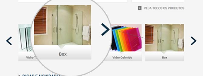 Reformulação de Site - Box Produtos - site Clacci Vidros