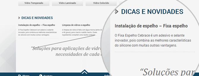 Reformulação de Site - Dicas - site Clacci Vidros
