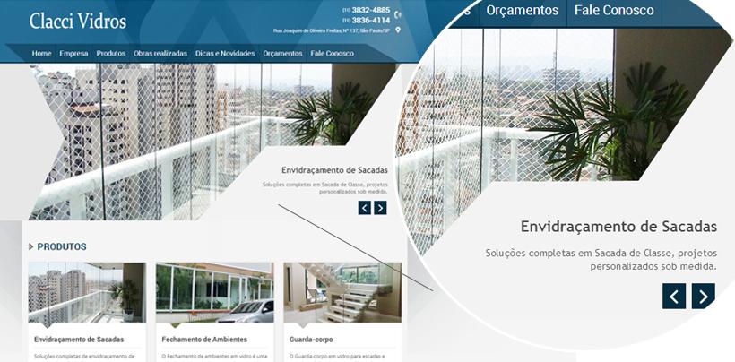 Reformulação de Site - slider - site Clacci Vidros