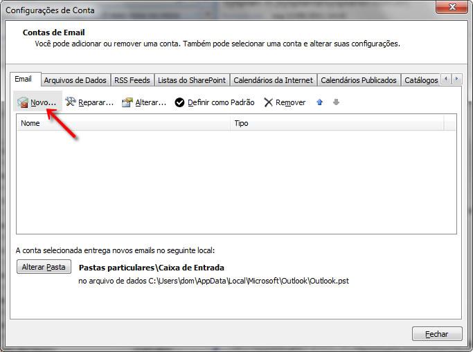 Passo 02 - Configuração de E-mail Outlook 2007