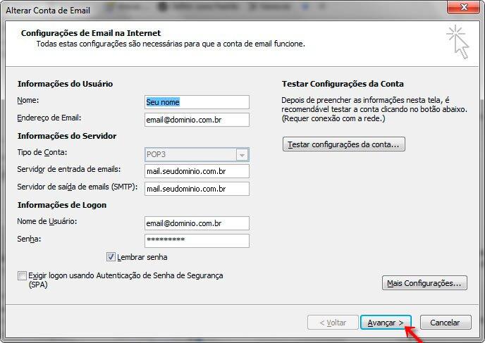 Passo 08 - Configuração de E-mail Outlook 2007