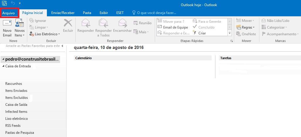 Passo 01 - Configuração de E-mail Outlook 2016