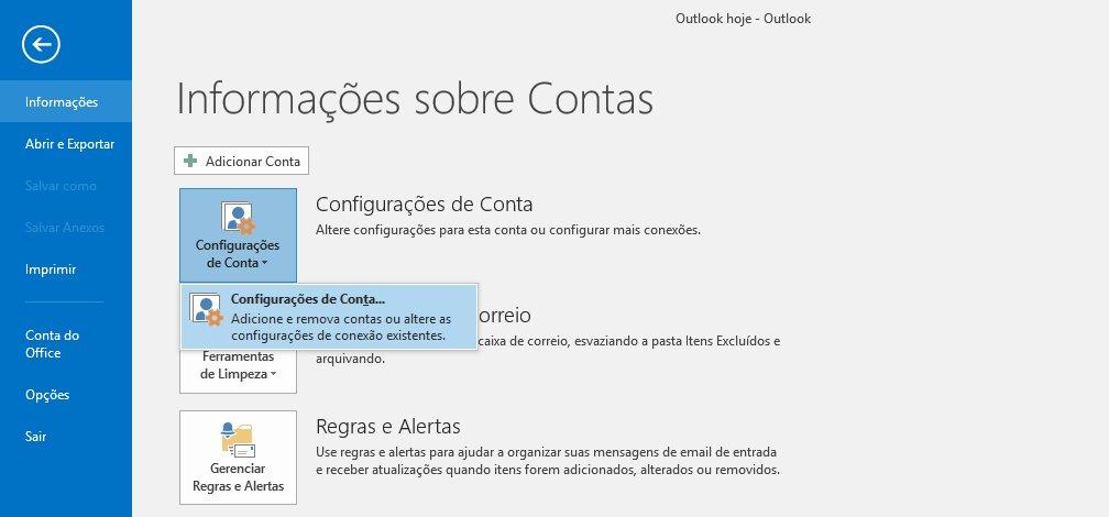 Passo 02 - Configuração de E-mail Outlook 2016